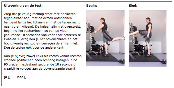 Tweede one leg test